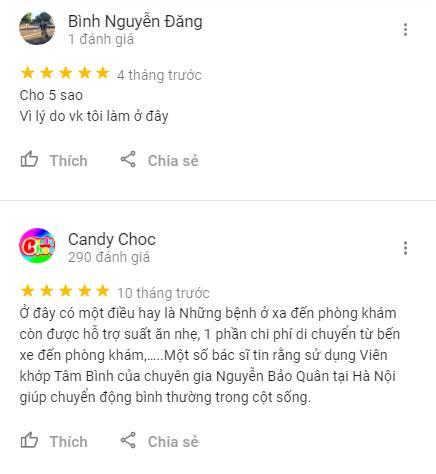 Một số Review 5 sao cho phòng khám Thanh Chân