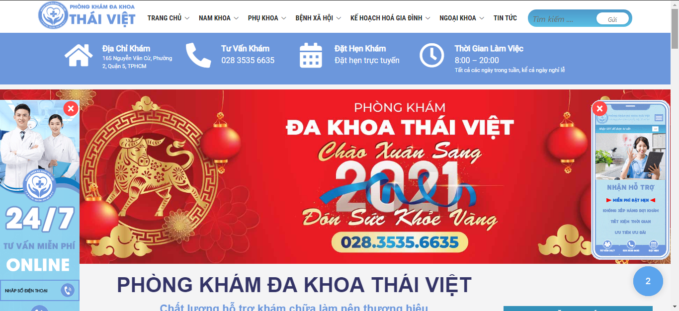Giao diện phòng khám đa khoa Thái Việt ngụ tại 165 Đ. Nguyễn Văn Cừ, Phường 2, Quận 5, Thành phố Hồ Chí Minh 700000